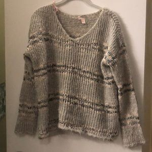 Striped Fuzzy Knit Sweater